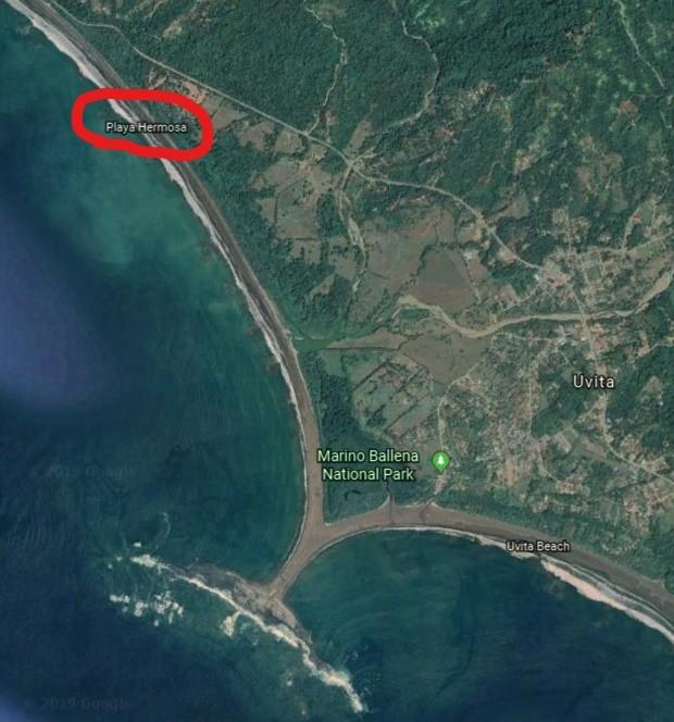 playa hermosa de osa google earth