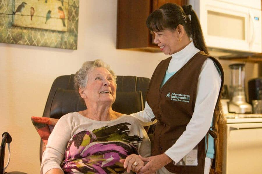 Caregiver tending to senior client