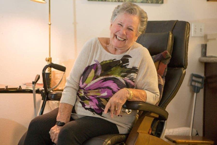 Senior client in chair