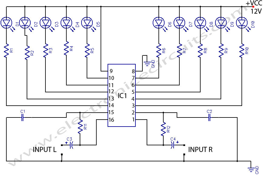 LED STEREO sound LEVEL INDICATOR circuit for audio amplifier circuit diagram
