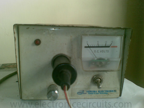 DC regulated power supply using 741 op amp ic and 2n3055 power transistor