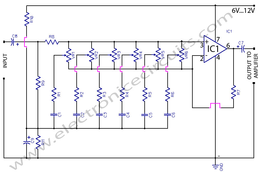 6 band graphic equaliser circuit using 741 op-amp bass treble control
