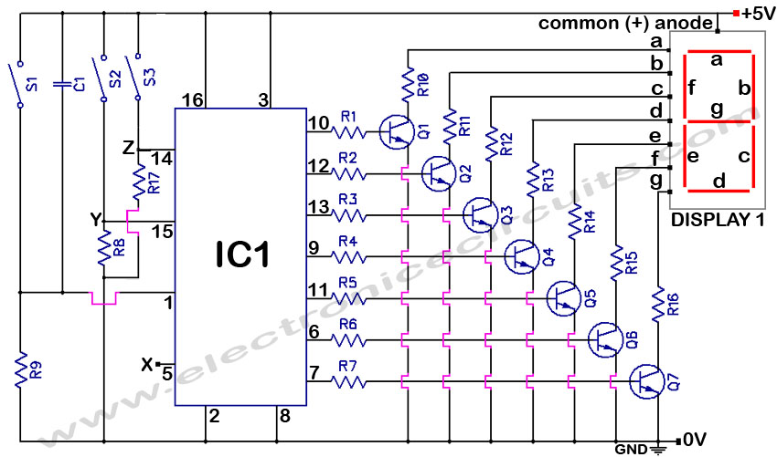 4033 7 segment common anode display 0 to 9 event counter circuit