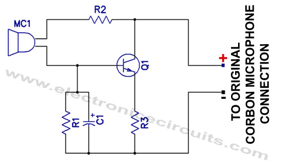 Carbon Microphone To Magnetic Mike MIC Converter Circuit