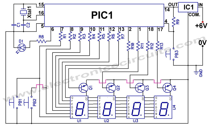 PIC 16F84 pic16f84a 12 24 Hour Clock Circuit diagram