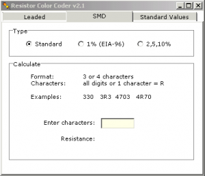 Surface Mount Device (SMD) Markings Code Decoder Calculator Software