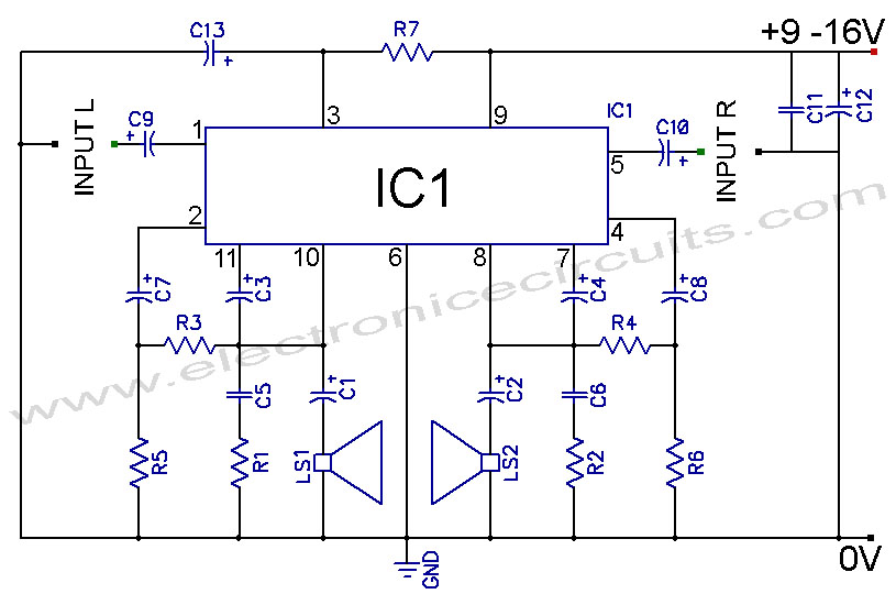 tda2004 car battery stereo amplifier circuit