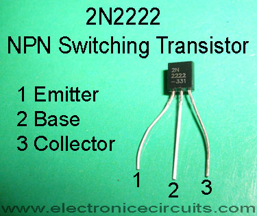 2N2222 NPN switching transistor pin configuration