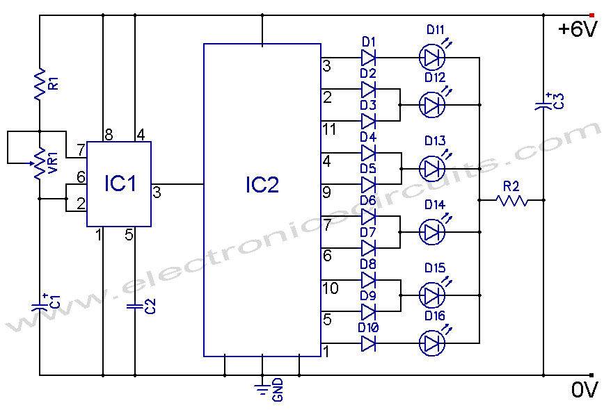 led knight rider circuit diagram using 4017 and 555 ic's
