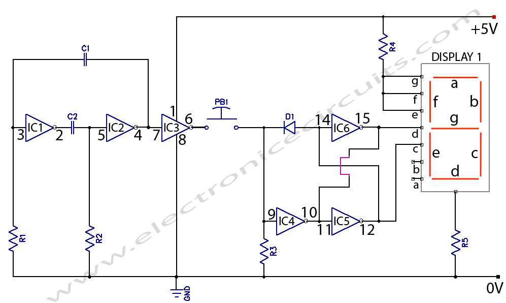 Electronic Coin Toss Circuit Diagram