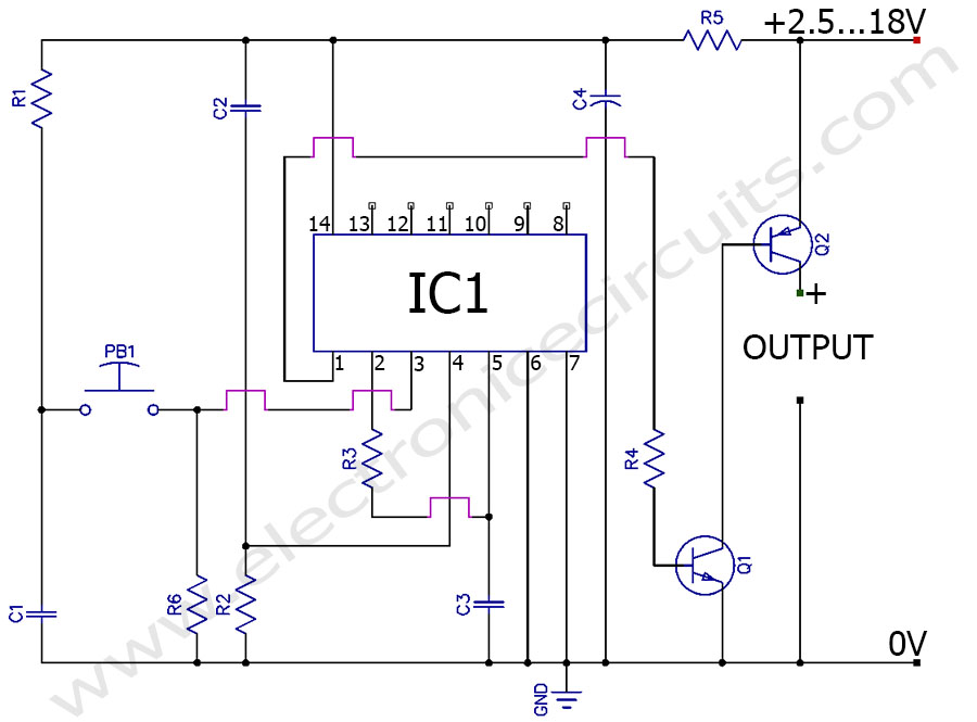 momentary push button soft latching toggle power on off switch circuit diagram
