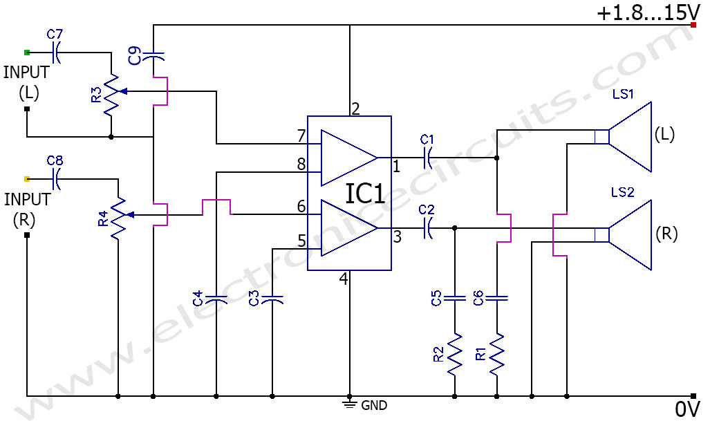 3V Battery Powered Stereo  Amplifier Circuit TDA2822M