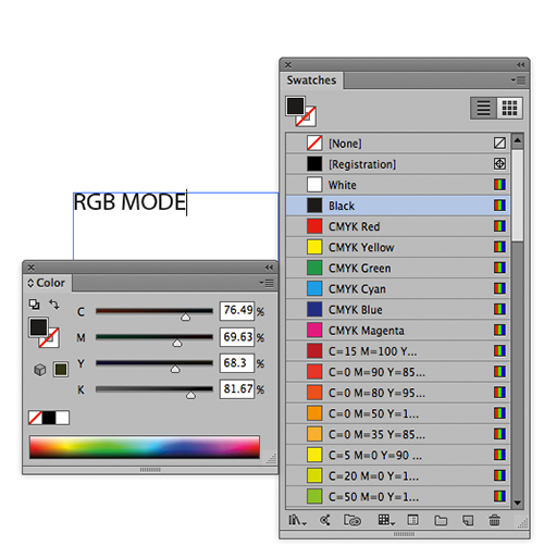 This Illustrator art is in RGB mode but should be in CMYK mode in order for the black type to be truly black and not a mix. You can see the mix of CMYK colors used in the RGB Black swatch, shown in the Separations Preview palette of Illustrator.