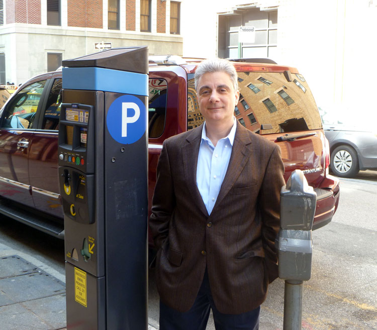 Lou Camporeale with parking machine