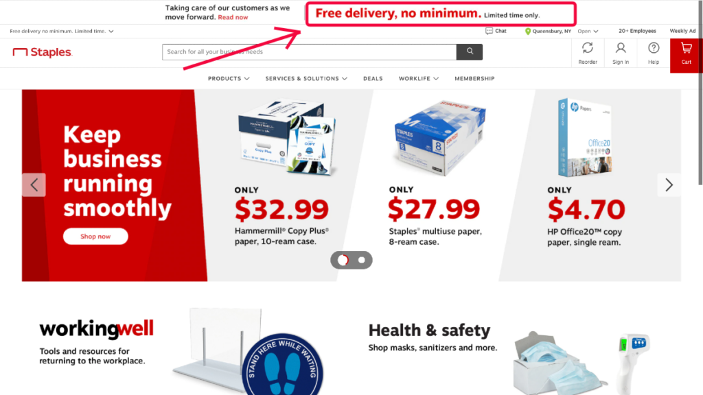 staples ecommerce website