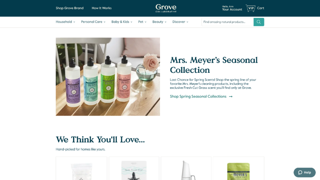 niche ecommerce website grove collaborative