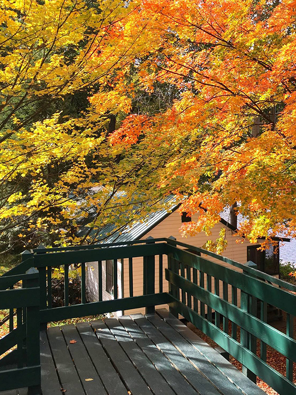 Elm's Waterfront Cottages, Lake Luzerne, in Autumn