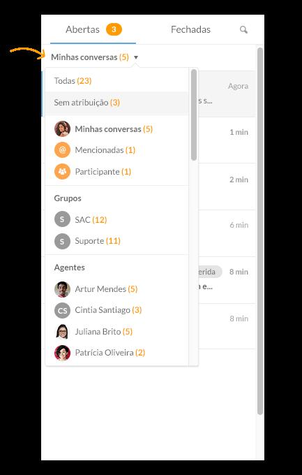 Chat de atendimento ao cliente - filtros de conversa no chat