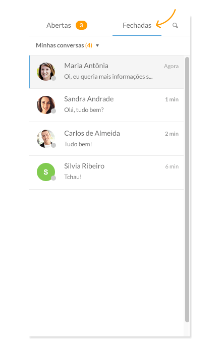 Chat de atendimento ao cliente - Listagem de chats fechados