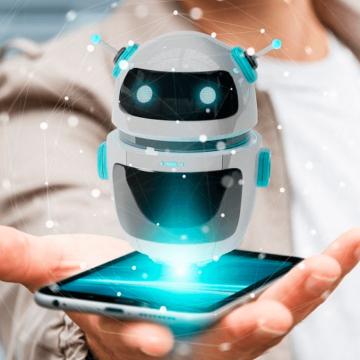 Robô surgindo de dentro de um celular que está na palma da mão de um humano