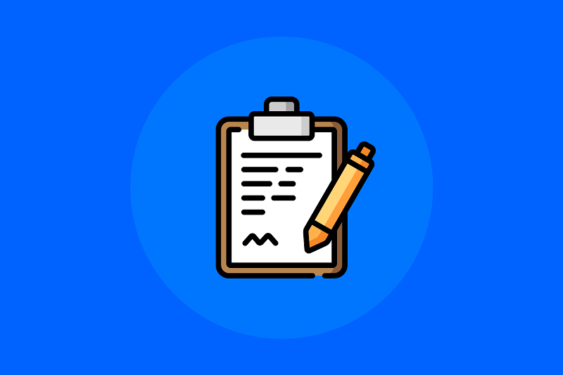 Desenho de um formulário e caneta
