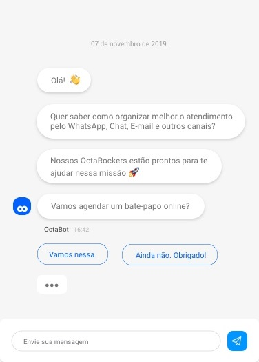 Imagem de um chat sendo usado para conversar em tempo real com diversos setores da empresa