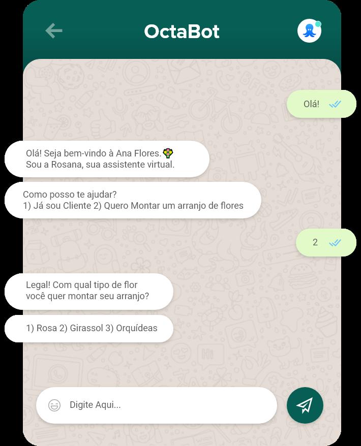 Tela de uma conversa entre humano e bot no WhatsApp