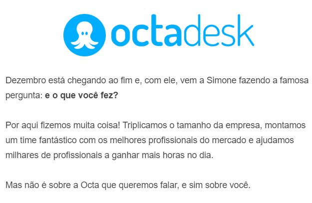 Tela de email enviado pela Octadesk
