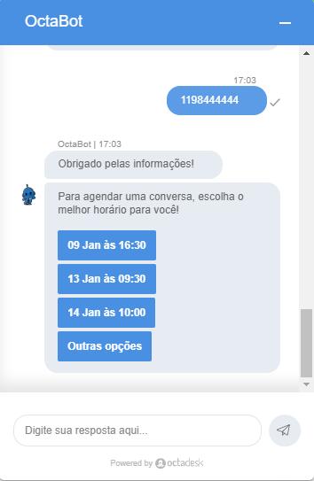 Imagem do chatbot da Octadesk