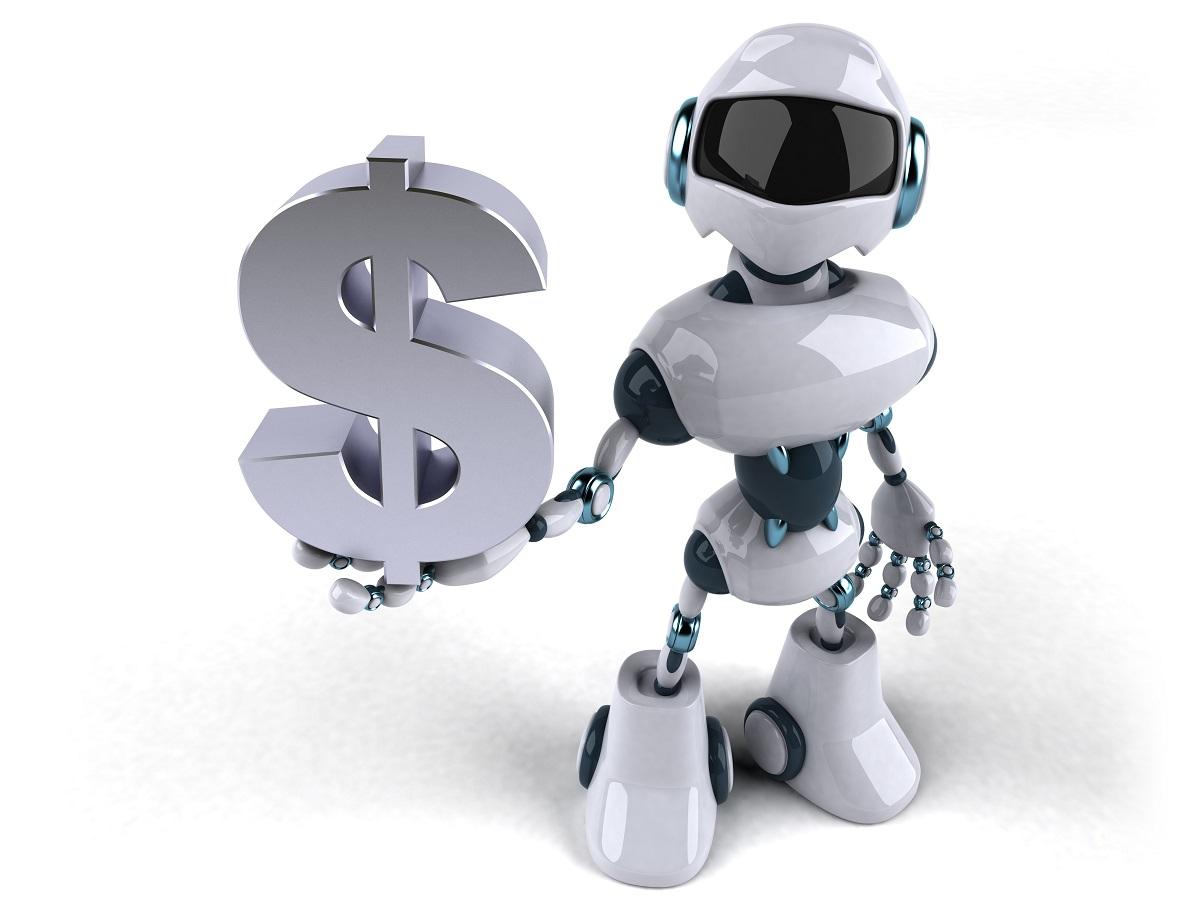 Chatbot WhatsApp - robô segurando um cifrão, simbolo de dinheiro