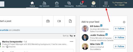 Criar página comercial no Linkedin
