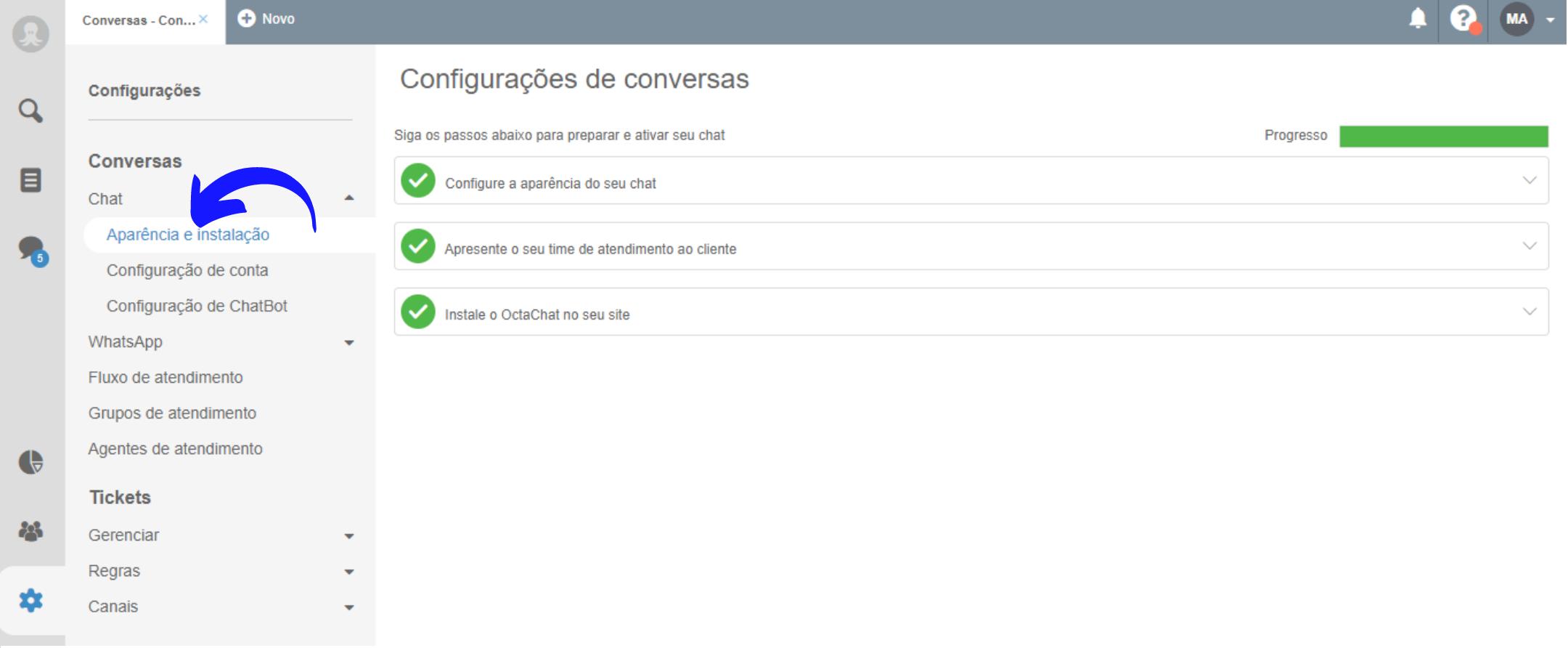 Configurações da aparência de chat online no site