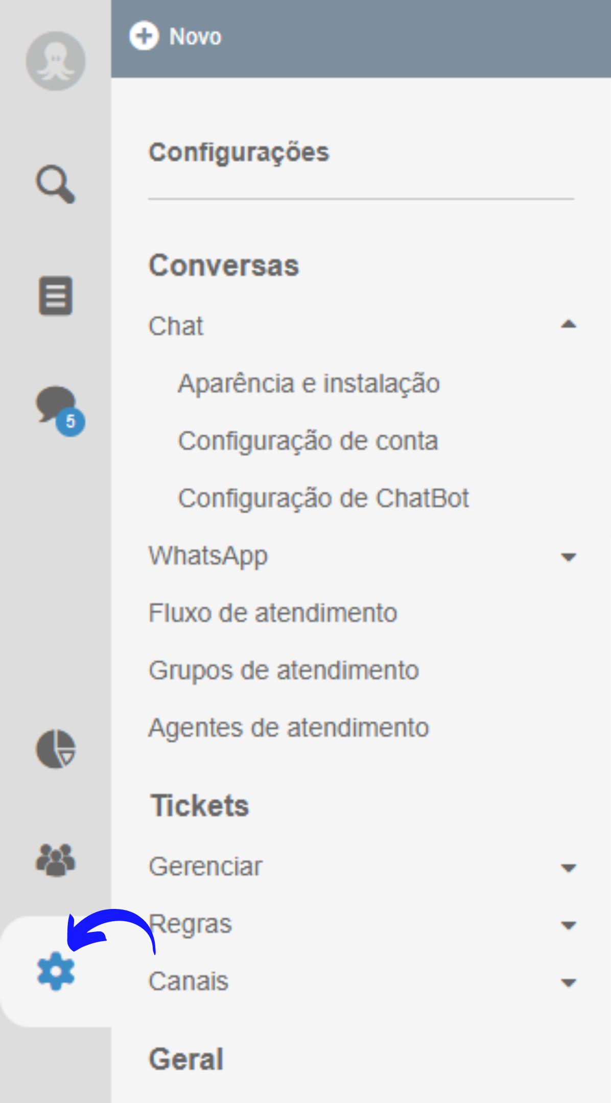 Configurações do Octadesk para chat online no site