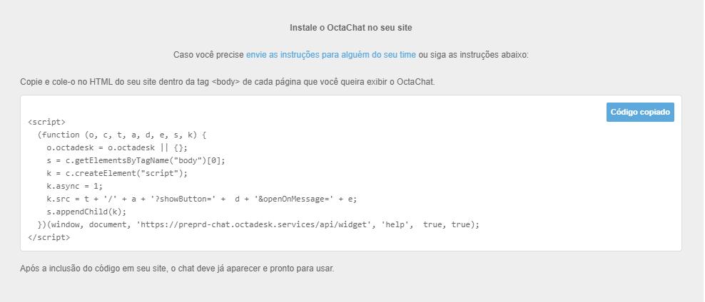Insira o código do chat online no site