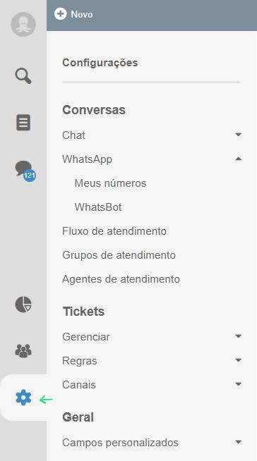 Configuração de sistema de atendimento whatsapp