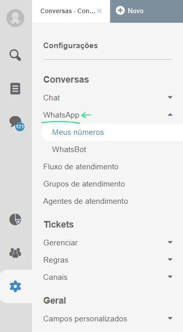 Configurações de sistema de atendimento WhatsApp