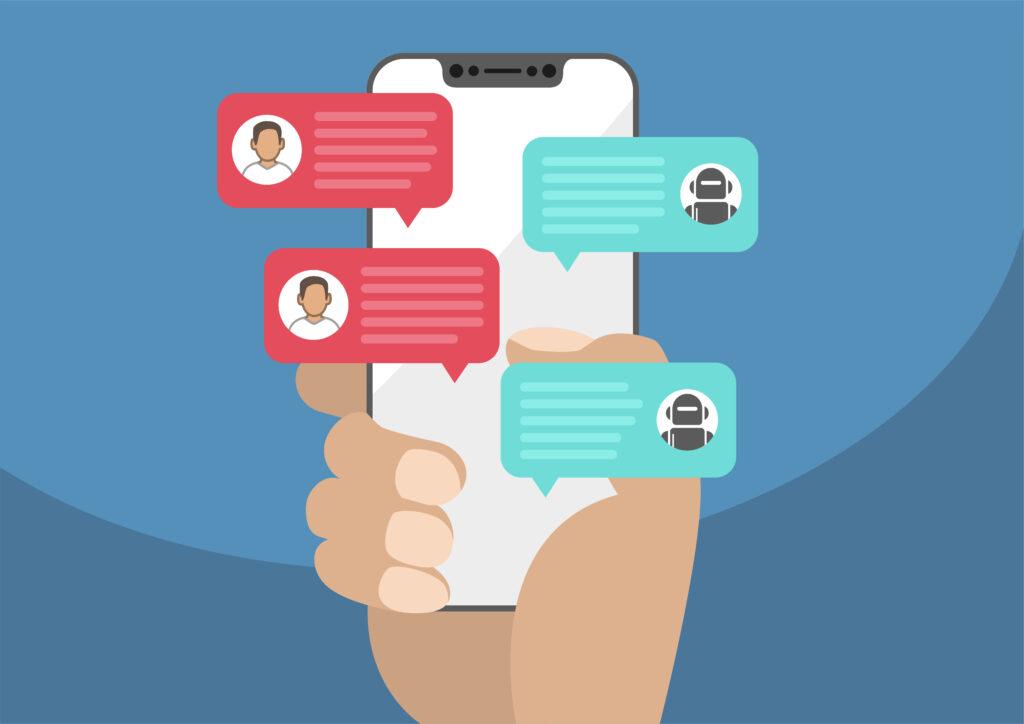 Ilustração de um celular com chat aberto.