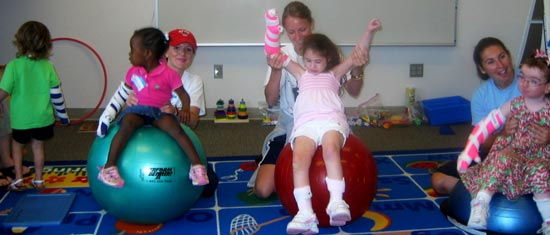Children and therapists working