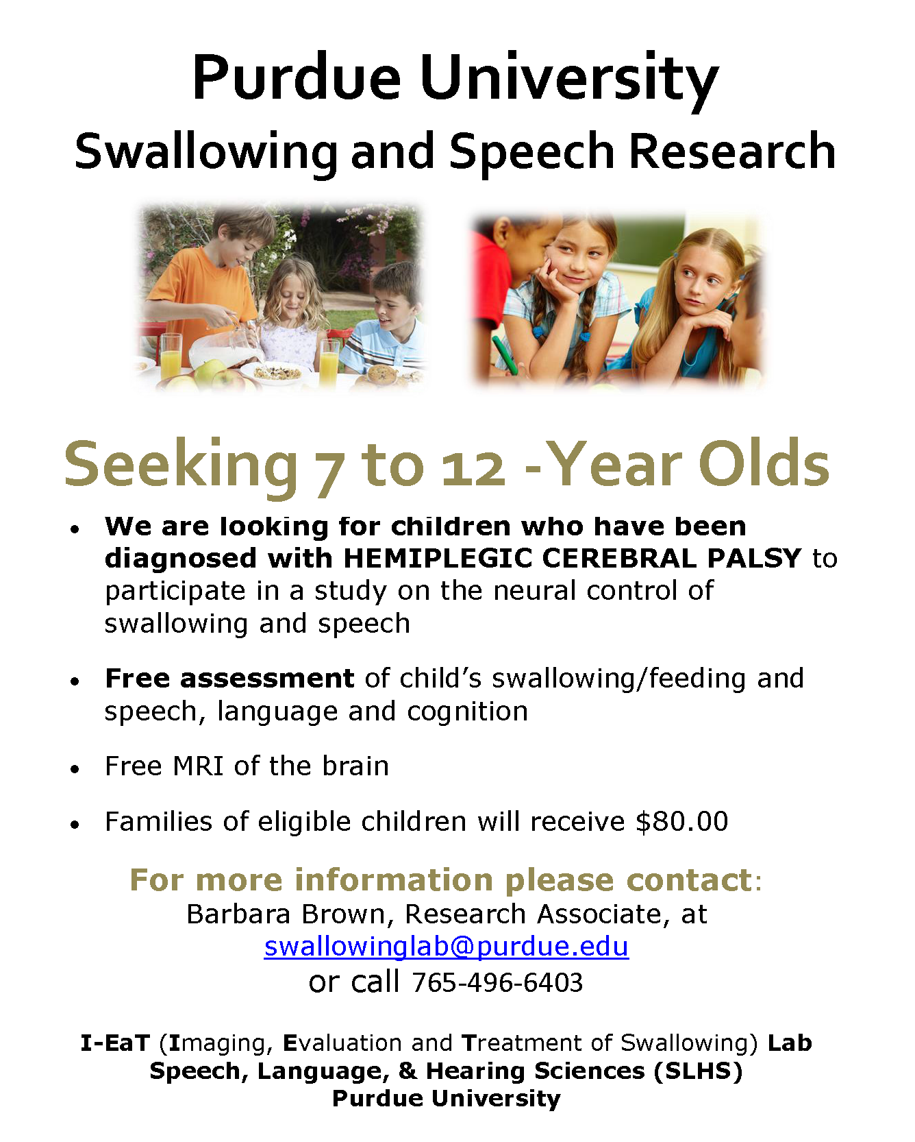 Research Seeking Participants – Children with Hemiplegia