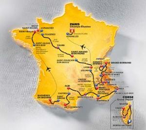 La carte du tour de France