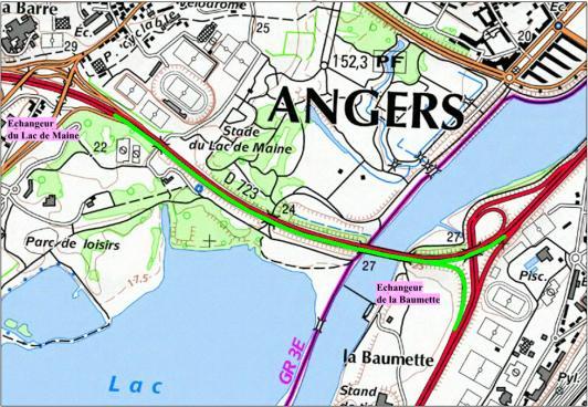 Un plan des travaux sur la RD 323: en vert, le tracé concerné.