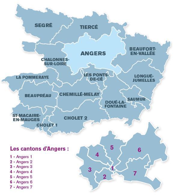 Credit CG 49 - Carte des nouveaux cantons  en Maine-et-Loire