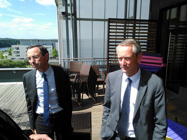 Régionales 2015. A droite, Bruno Retailleau en visite à Angers.