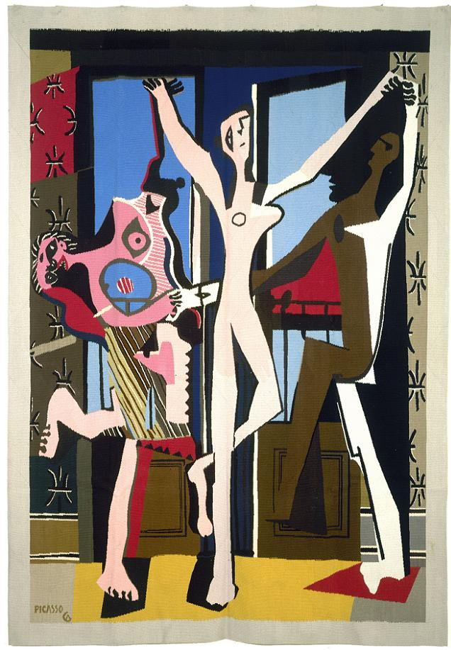 """Un Picasso exposé dans un musée d'Angers.Pablo Picasso (1881-1973). """"La Danse"""", tapisserie, 1925. Paris, musée d'Art moderne."""