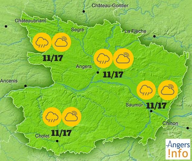 Retour des averses ce mardi 22 septembre 2015 sur Angers et le Maine-et-Loire