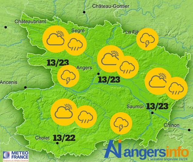 Toujours orageux ce vendredi 27 mai 2016 sur le Maine-et-Loire.