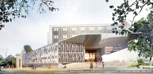 Vue sur le nouveau parvis du futur centre des congrès d'Angers.