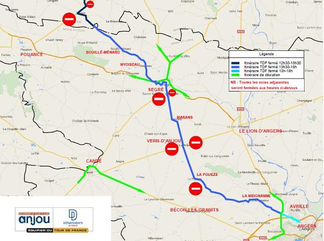 Les routes fermées et déviations sur l'Axe Segré-Angers