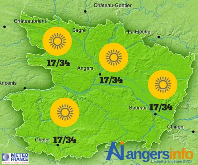 Le temps estival et chaud se poursuit lundi 15 août 2016 sur le Maine-et-Loire.