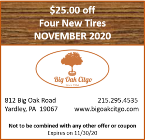 2020.11 – $25 off 4 new tires
